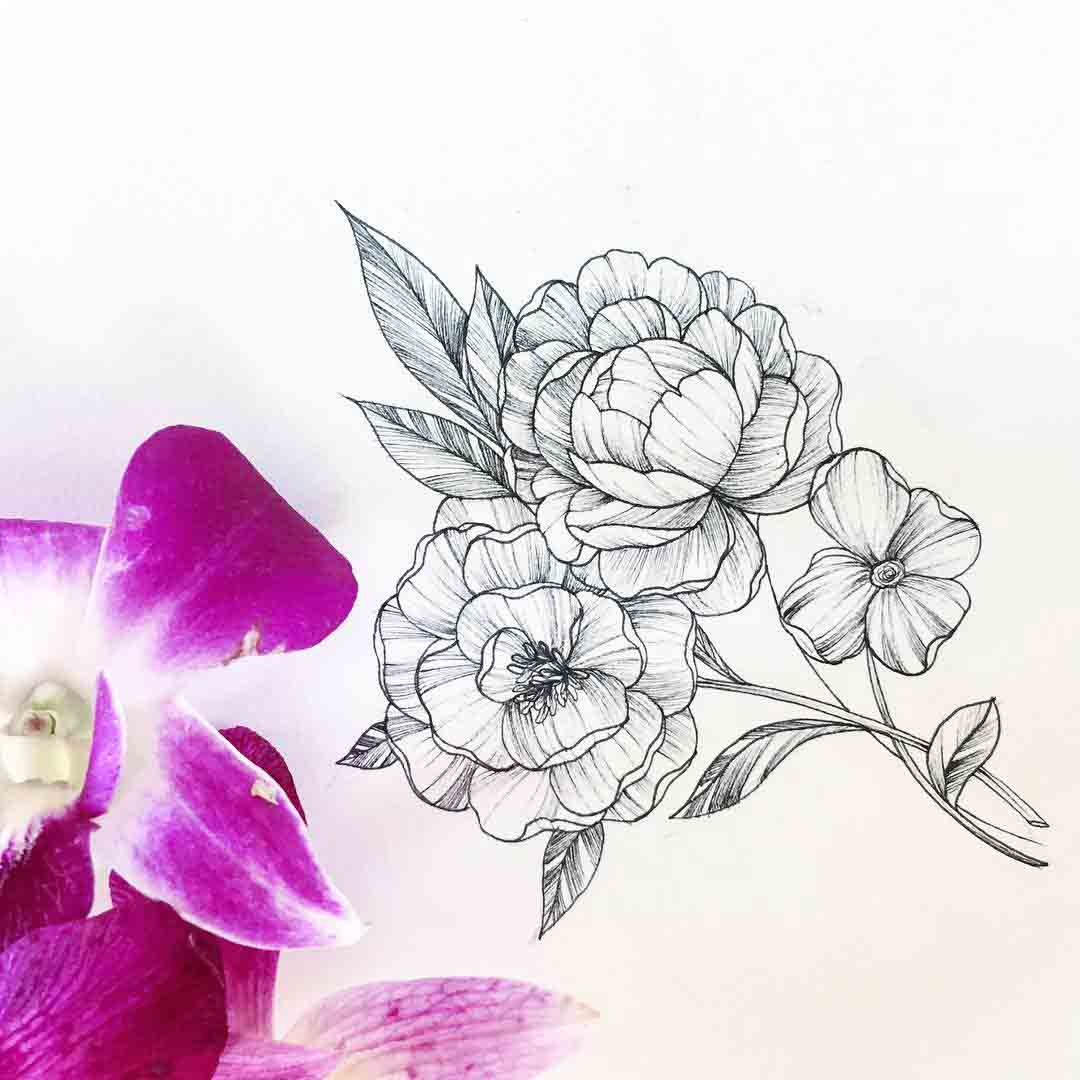 flower tattoo idea on paper