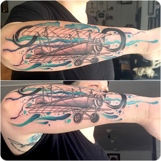 Forearm Tattoo Old Plane by Bananafish Tattoo Parlour