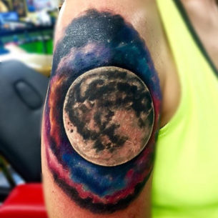 Full Moon Tattoo on Shoulder