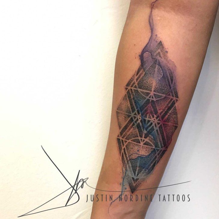 dotwork tattoo watercolor undertones geometric design