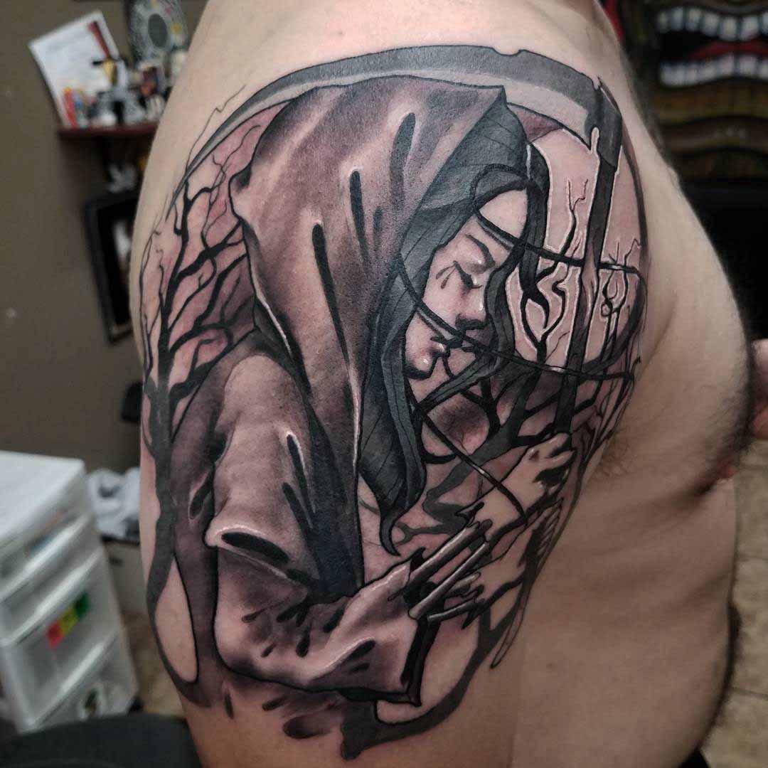 shoulder tattoo of death women