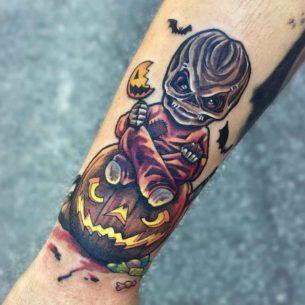 Halloween Tattoo New School on Arm