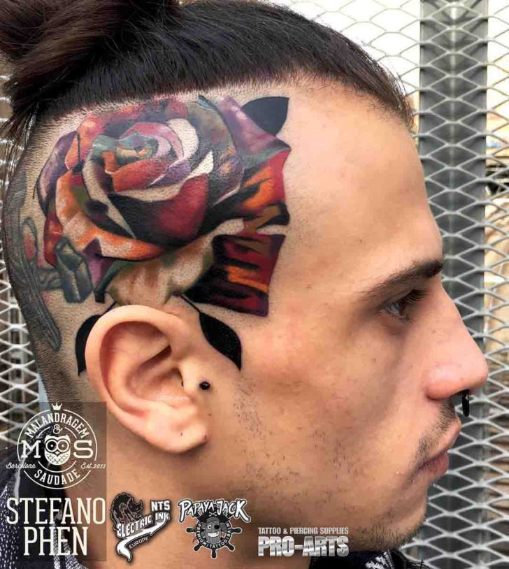 Head side rose tattoo best tattoo ideas gallery for Tattoos on side of head