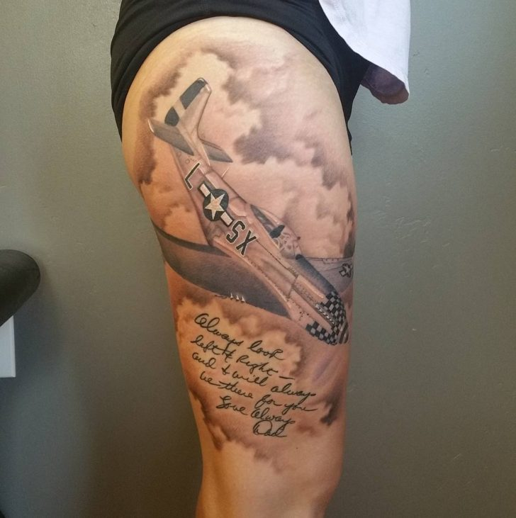 Hip Thigh Tattoo Plane by Paul Vandenberg