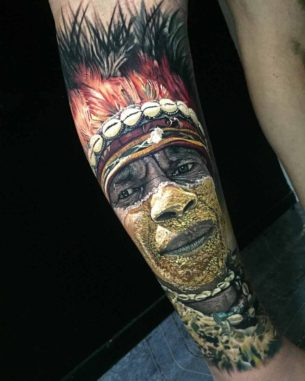 Hyperrealistic Tattoo Portrait of Indian