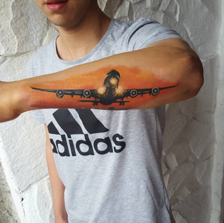 Landing Plane Tattoo on Forearm by culturatattoo_costarica