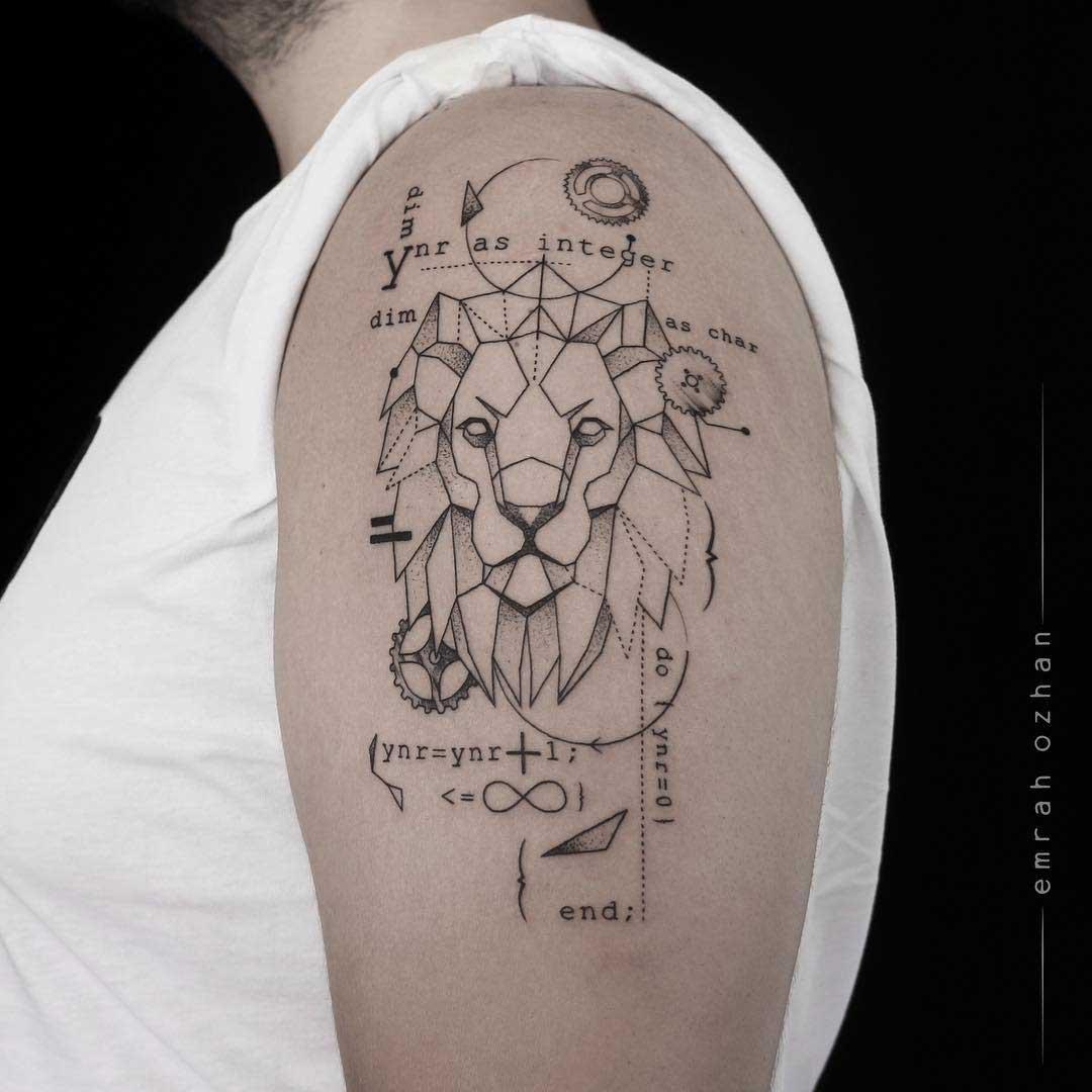 shoulder lion tattoo mathematical dotwork style