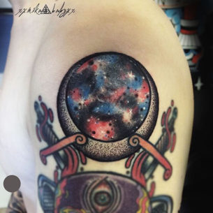 Moon Space Tattoo on Shoulder