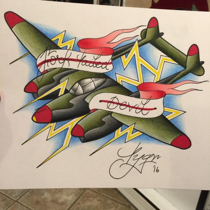 Neo-Traditional Ribbon Plane Tattoo Idea by Tyler Grenzeback