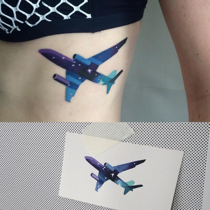Night Sky Plane Tattoo for Girls by Sasha Unisex