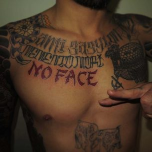 No Face Tattoo on Chest