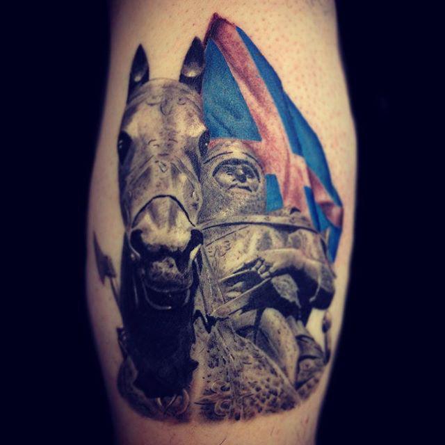 scottish tattoo knight with flag