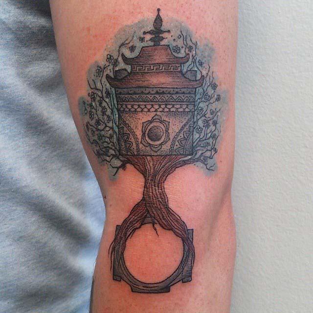 side elbow tattoo piston original style