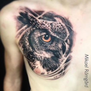 Owl Chest Piece Tattoo