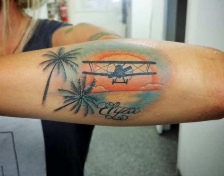 palms plane tattoo by driedbeanstattoo