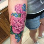 Pink Rose and Blue Flowers Tattoo on Forearm
