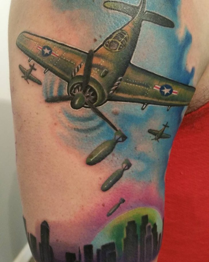 Plane Bombing Tatto by ronnie_ww