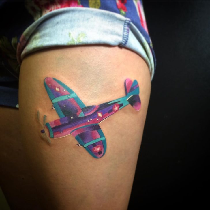 Purple Plane Tattoo by jimmyskyline