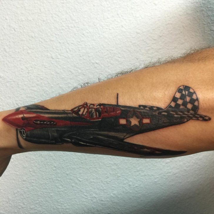 Realistic Tattoo Plane Fighter by surreal_tattoo
