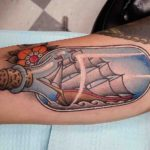 traditional tattoo ship in bottle nautical