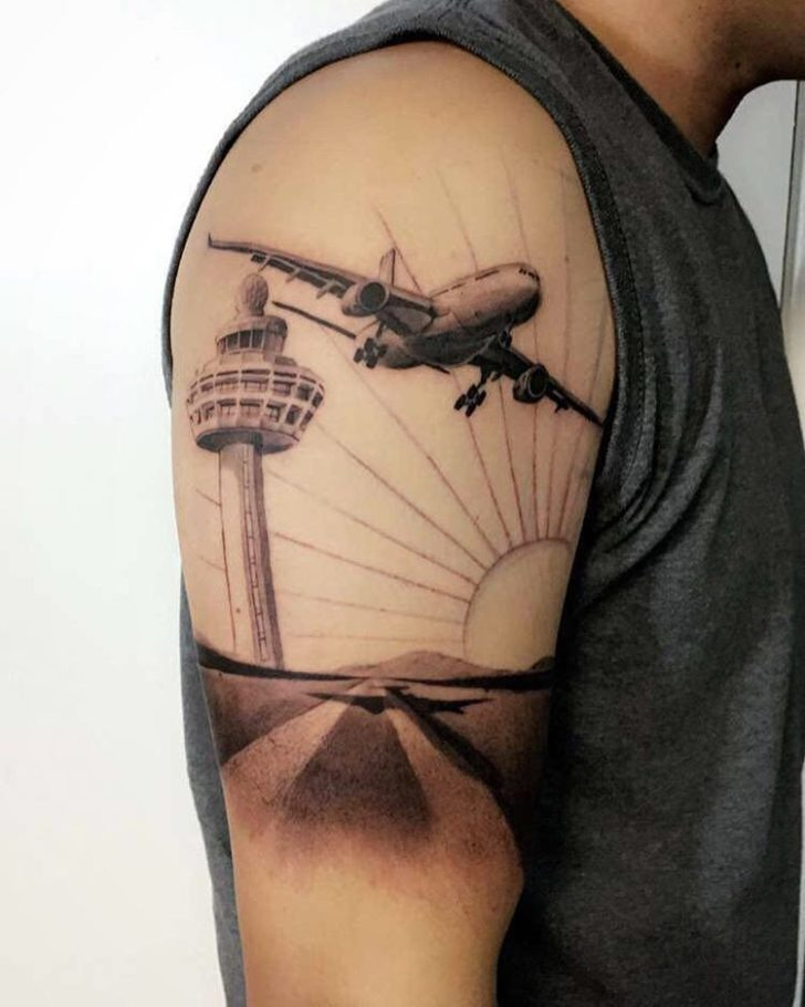 Shoulder Aircraft Tattoo by Adrian Delgado