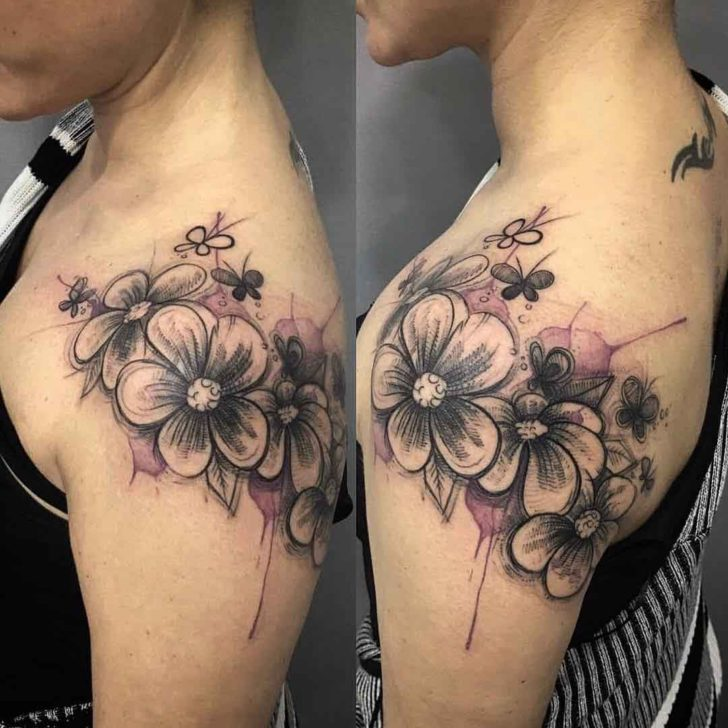 shoulder tattoo flowers girly best tattoo ideas gallery. Black Bedroom Furniture Sets. Home Design Ideas