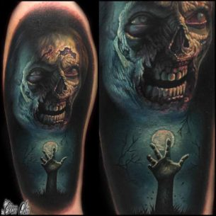 Shoulder Tattoo Horror Zombie