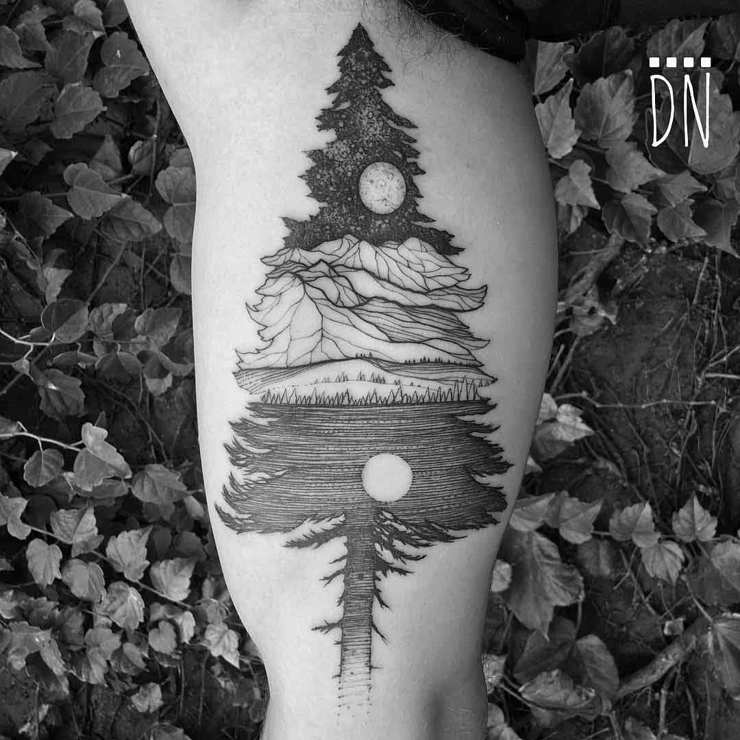 bicep tattoo spruce tree Alaska