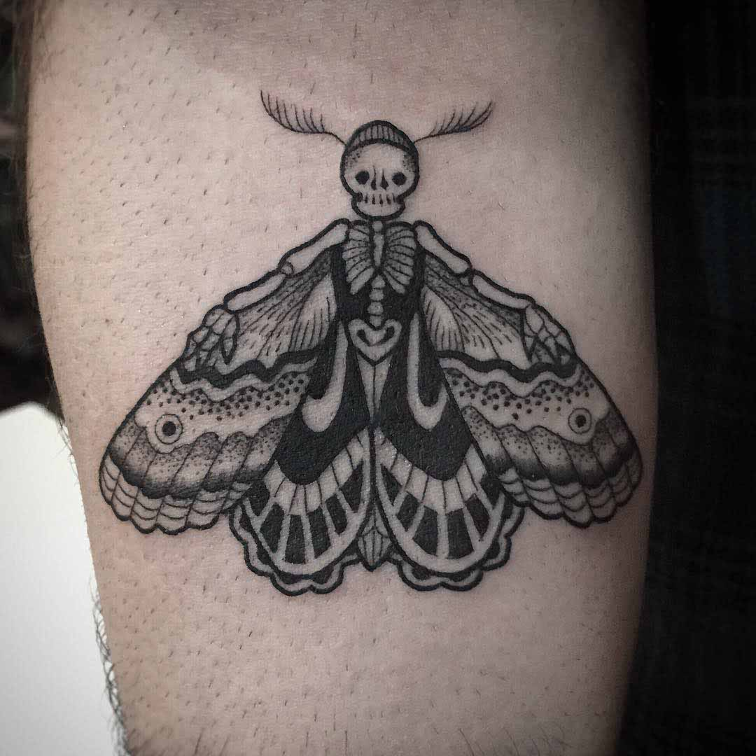 skeleton tatto with butterfly wings