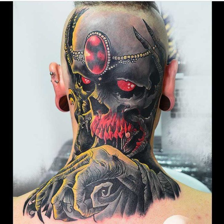 back of head tattoo skull
