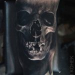 realistic skull tattoo black and grey