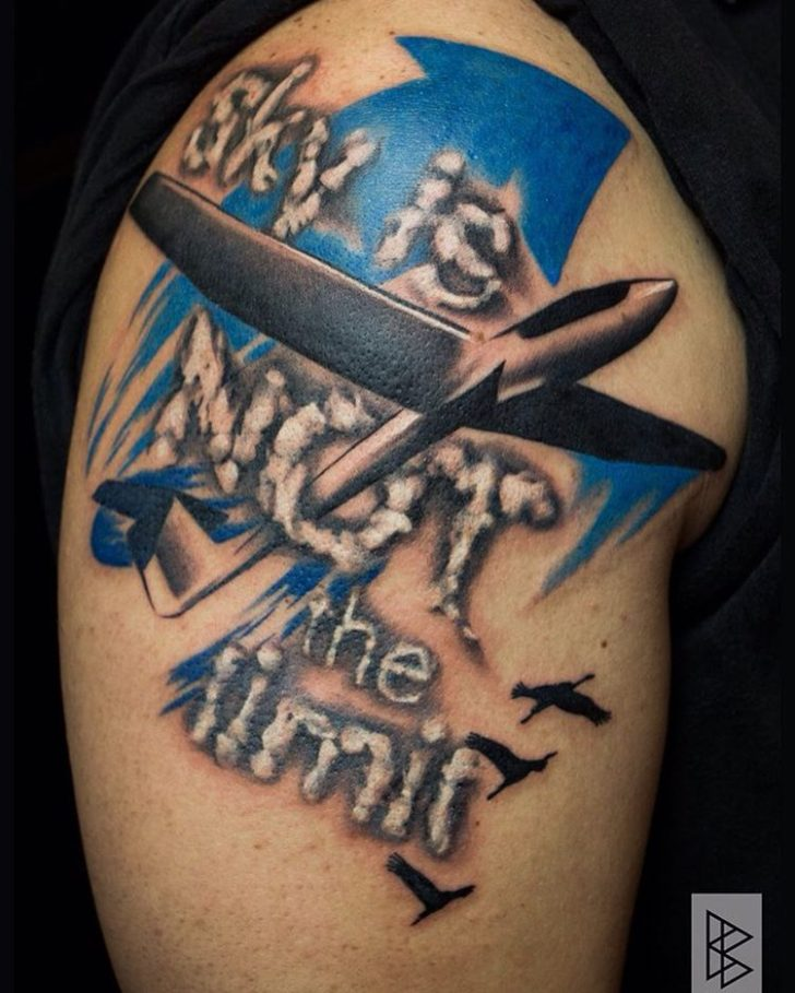 Sky is Not The Limit Tattoo Shoulder by Blanka Biro