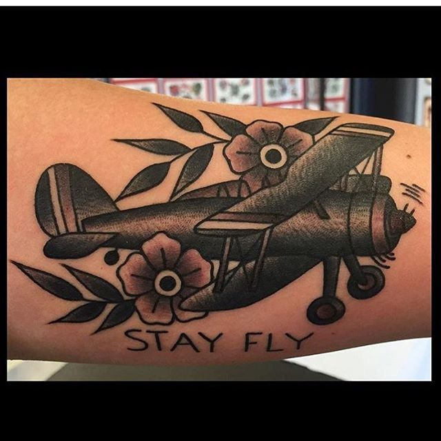Stay Fly Plane Tattoo by Ashley Love