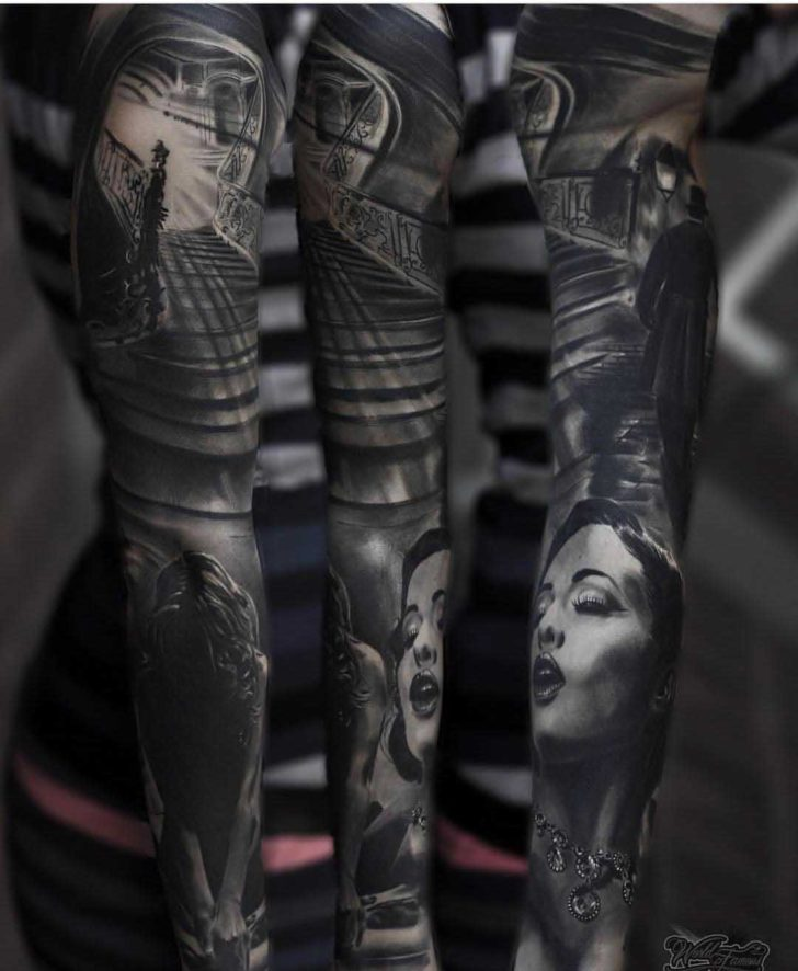 creative tattoo sleeve black and grey