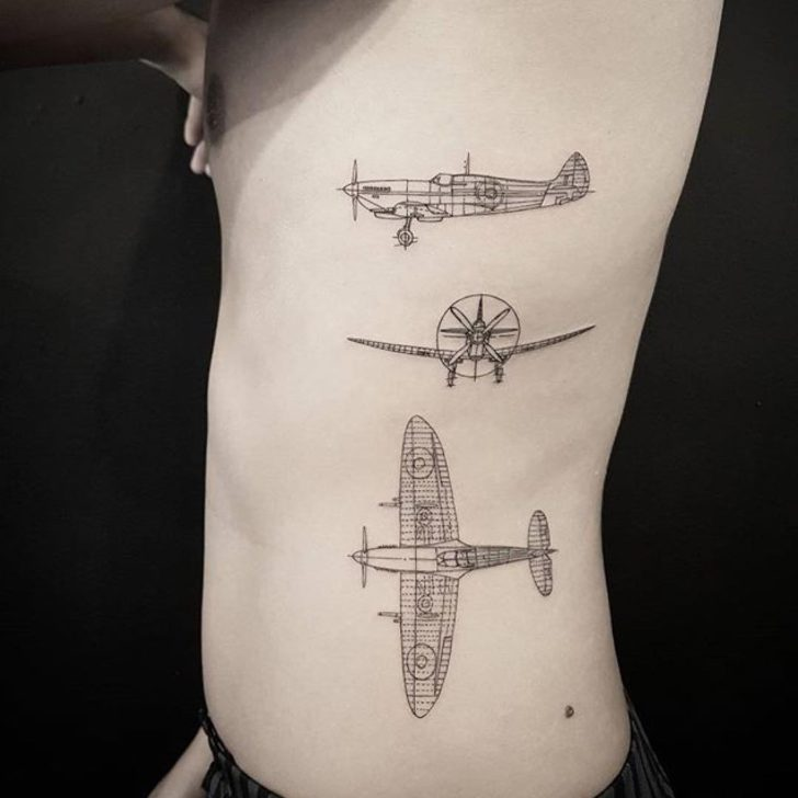 Three Views of Plane Tattoos on Side