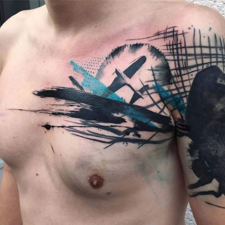 Trash Polka Plane Tattoo on Chest by rachel ulm