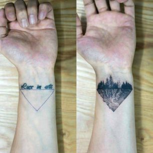 Triangle Cover Up Tattoo on Wrist