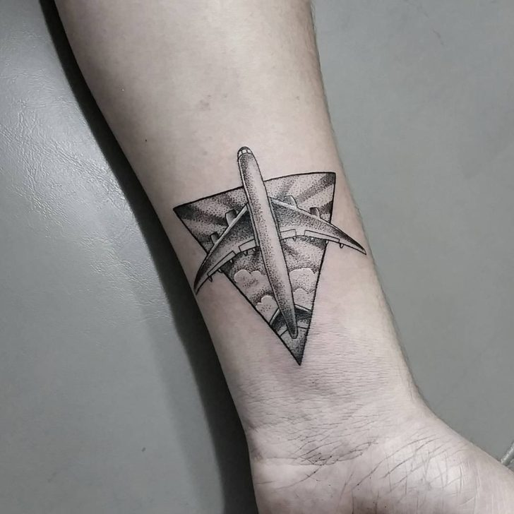 Triangle Plane Dotwork Tattoo by katleentattoo