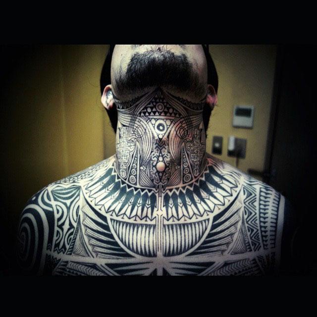 neck tattoo tribal style