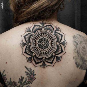 Upper Back Mandala Tattoo For Girl