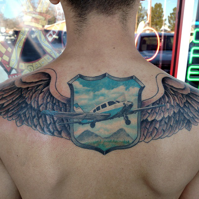 Upper Back Tattoo Plane by Keith Johnson
