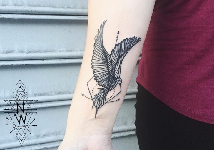 abstract phoenix tattoo by Laura Martinez