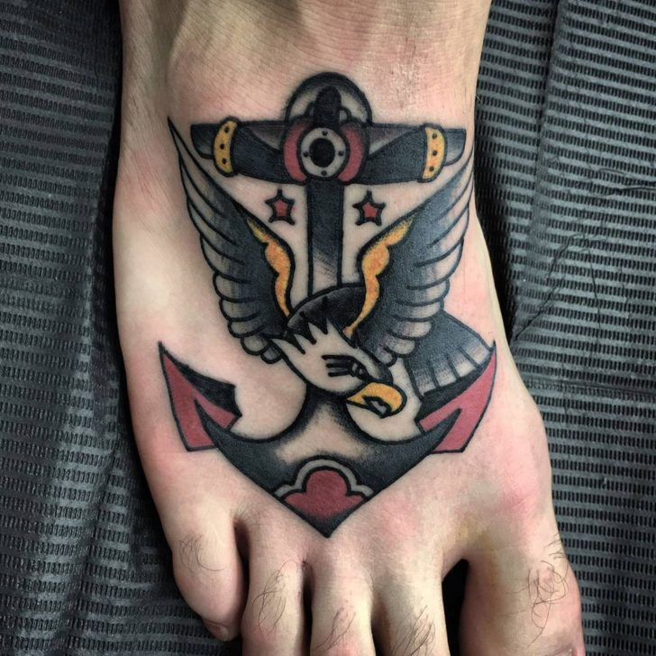 anchor eagle tattoo by imanol.lara