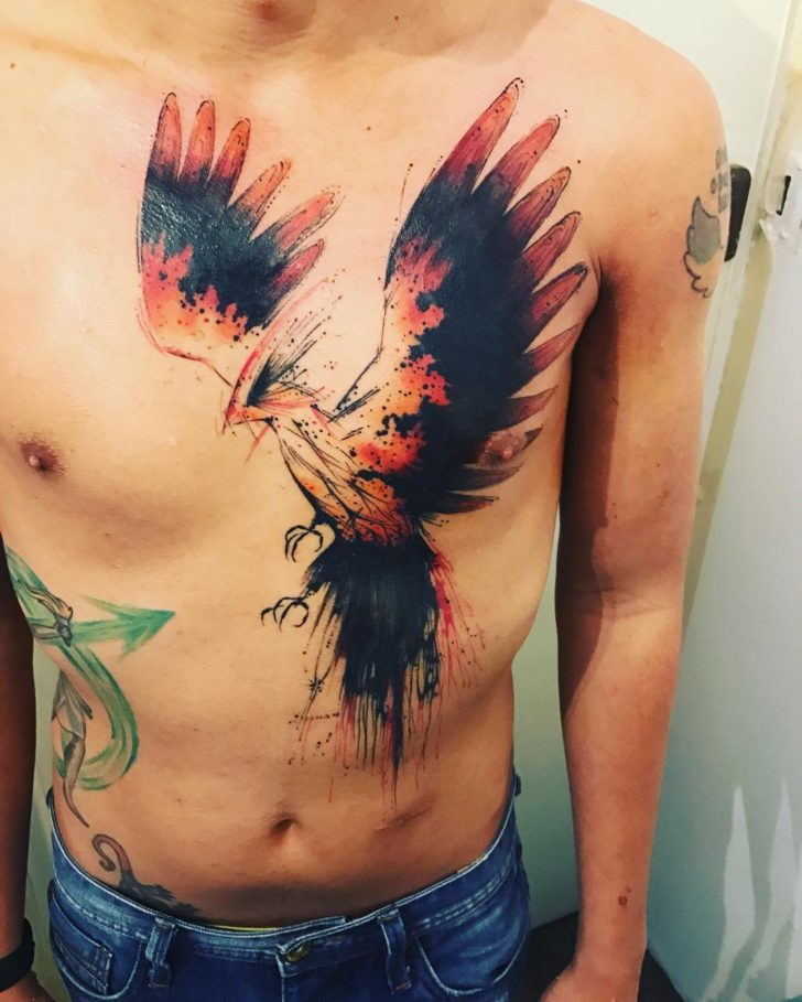 black wings phoenix by CloudHead Tattoo