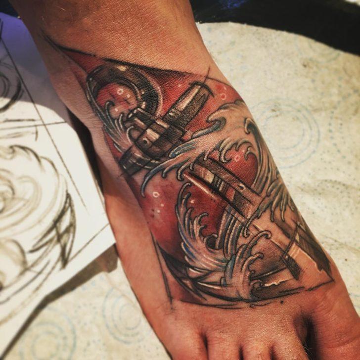 cool anchor tattoo by highsocietytattoostudio