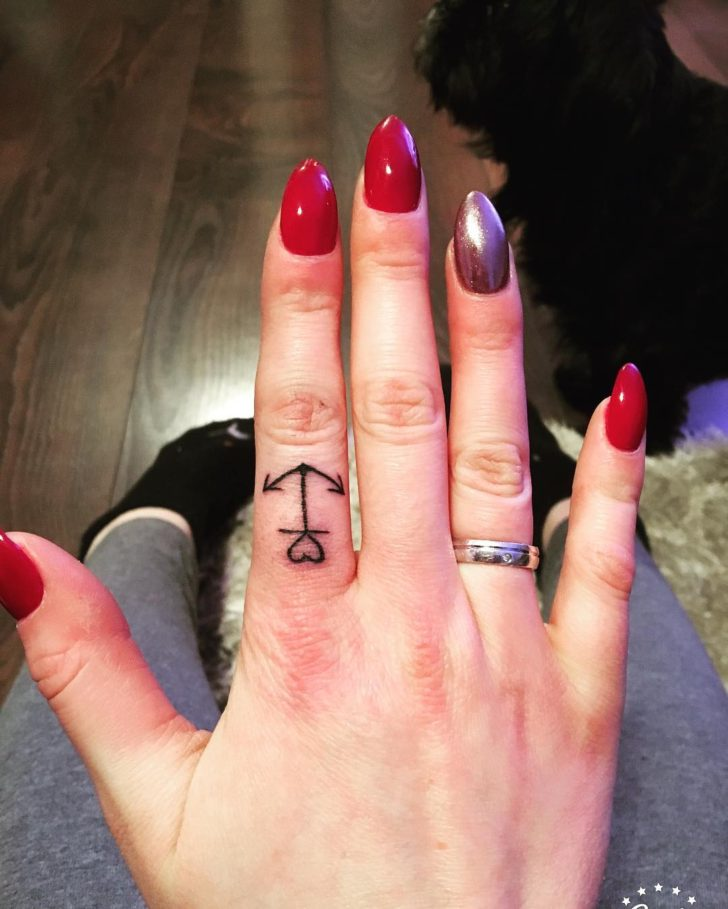 finger anchor tattoo by unknown artist