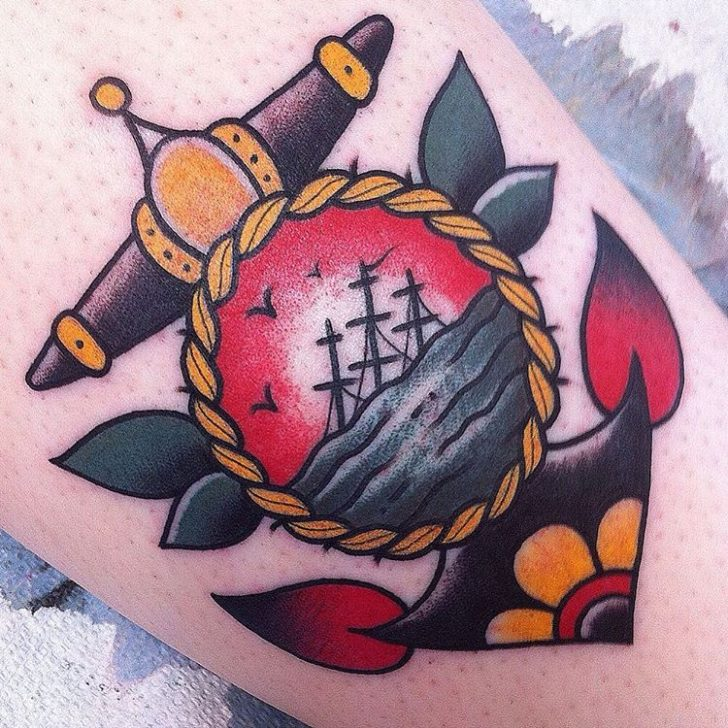 flash anchor tattoo by Nelson Dinsdale-Young