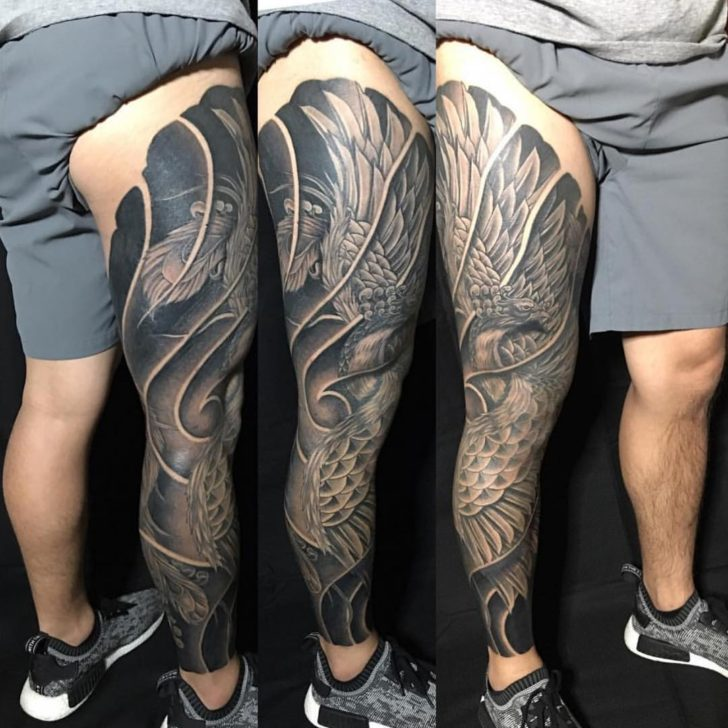 full leg phoenix tattoo by TIMELESS INK STUDIO