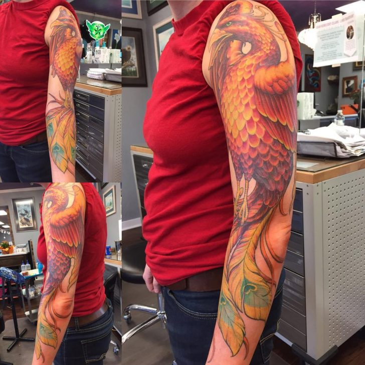 phoenix sleeve tattoo by Cliff Cox
