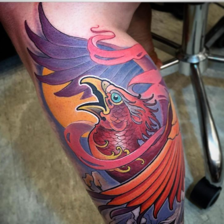 phoenix tattoo on leg by Matt Stebly